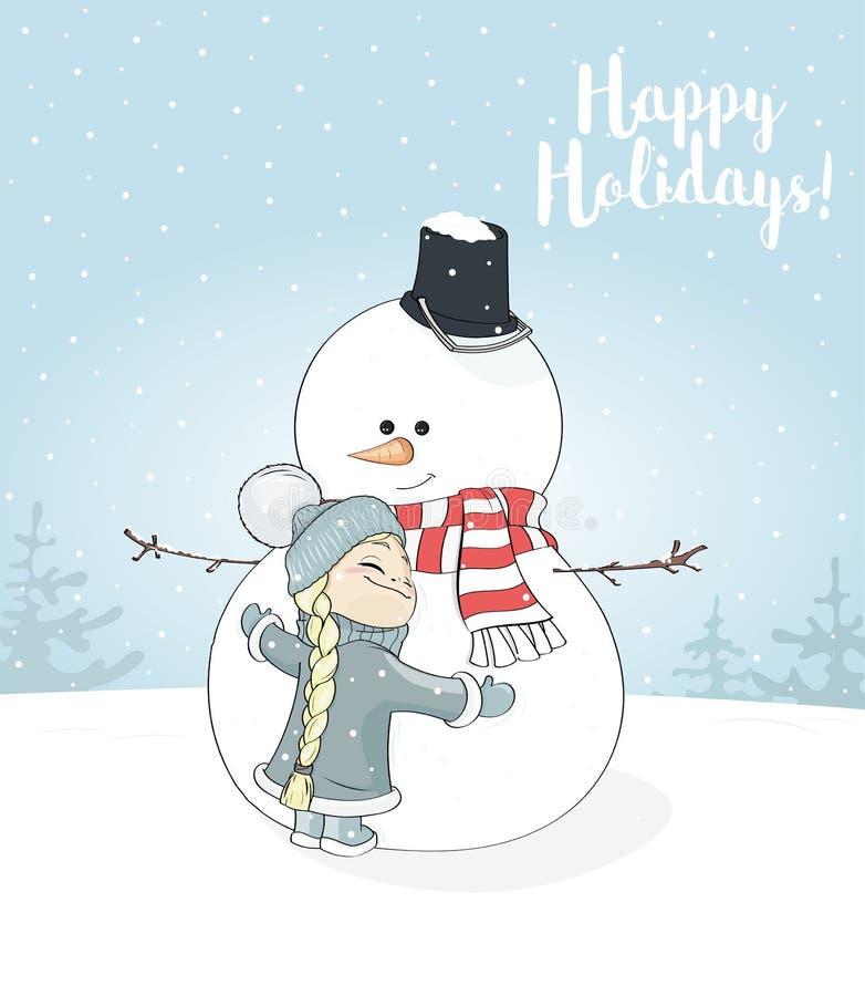 Het meisje koestert sneeuwman De prentbriefkaar van Kerstmisgroeten Gelukkige Vakantie vector illustratie