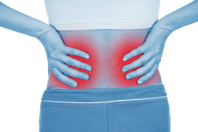 Het meisje kwetst kant, nier, wordt het getoond door rood royalty-vrije stock afbeeldingen