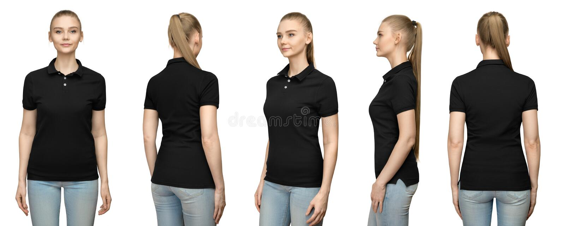 het meisje in leeg zwart het modelontwerp van het polooverhemd voor druk en malplaatjevrouw in nsiderug van de T-shirt voor halve stock afbeelding