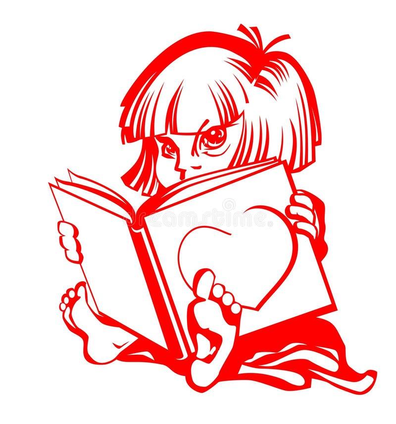 Het meisje leest groot boek royalty-vrije stock fotografie