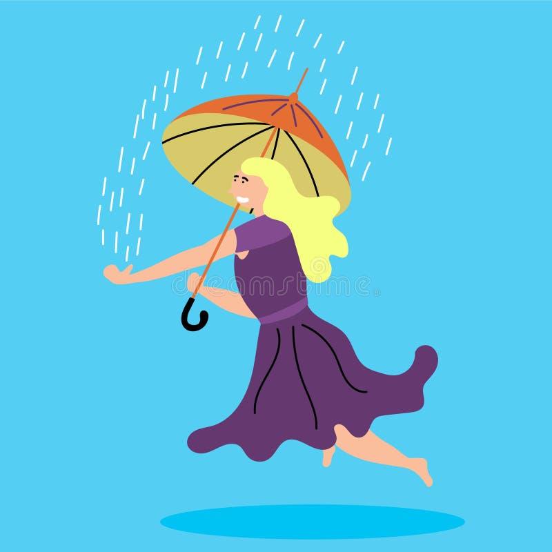 Het meisje levitatie ondergaat met een paraplu Het ` s die buiten regenen levitating royalty-vrije illustratie
