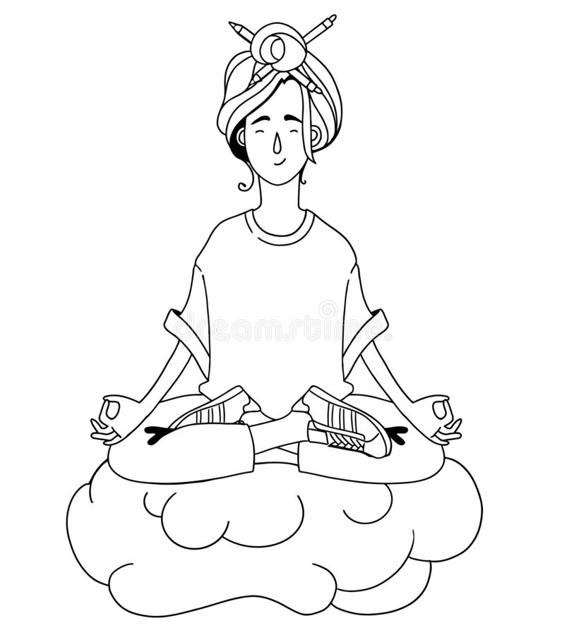 Het meisje mediteert in de lucht, zwart-wit royalty-vrije stock afbeelding