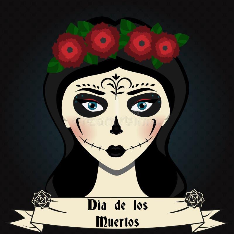 Het meisje met calavera van de suikerschedel maakt omhoog Mexicaanse dag van dode vectorillustratie vector illustratie