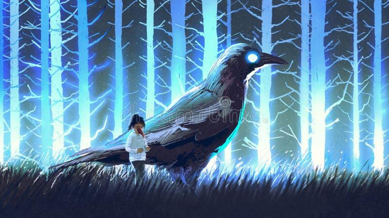 Het meisje met de grote kraai in blauw bos royalty-vrije illustratie