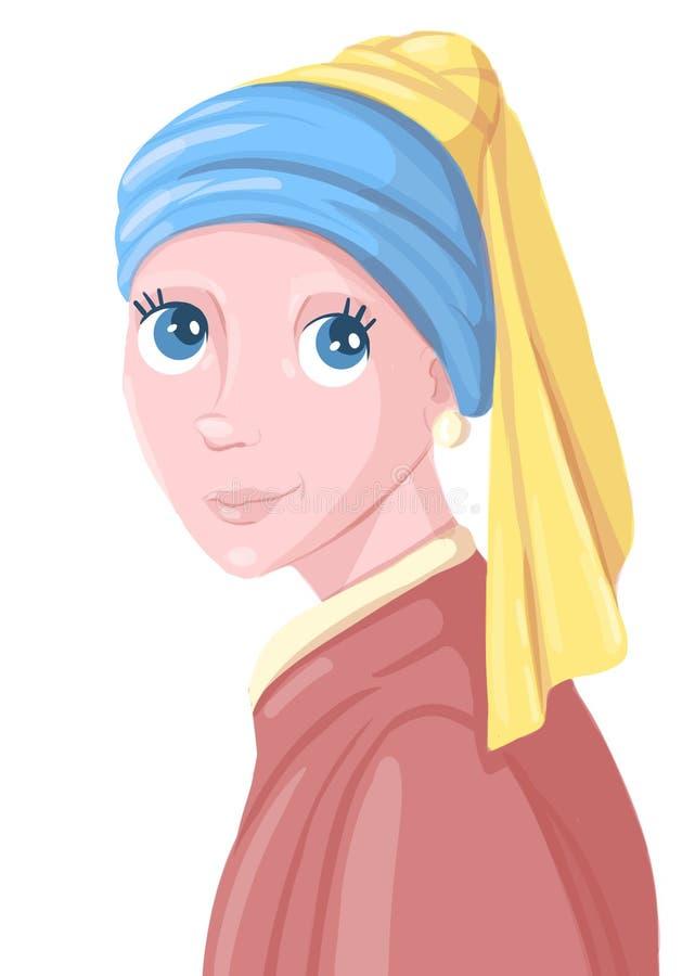 Het meisje met de pareloorring Illustratie royalty-vrije illustratie