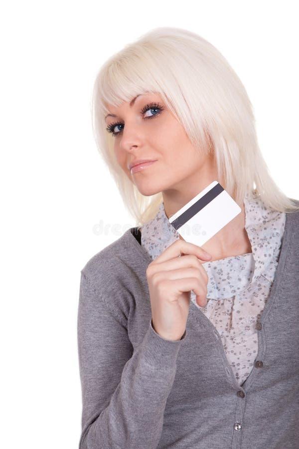 Het meisje met een bankkaart stock fotografie
