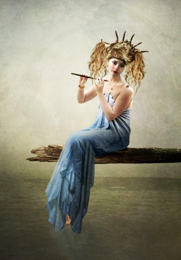 Het meisje met een fluit op de aard vector illustratie