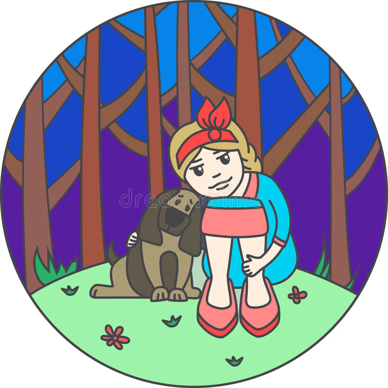 Het meisje met een hond vector illustratie