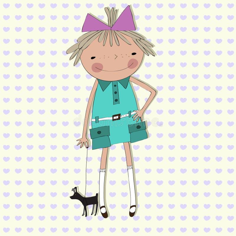 Het meisje met een kleine hond op een achtergrond van harten royalty-vrije illustratie
