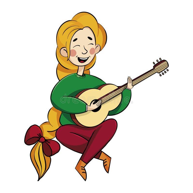 Het meisje met een mooi kapsel speelt de gitaar, zingt liederen wit royalty-vrije illustratie
