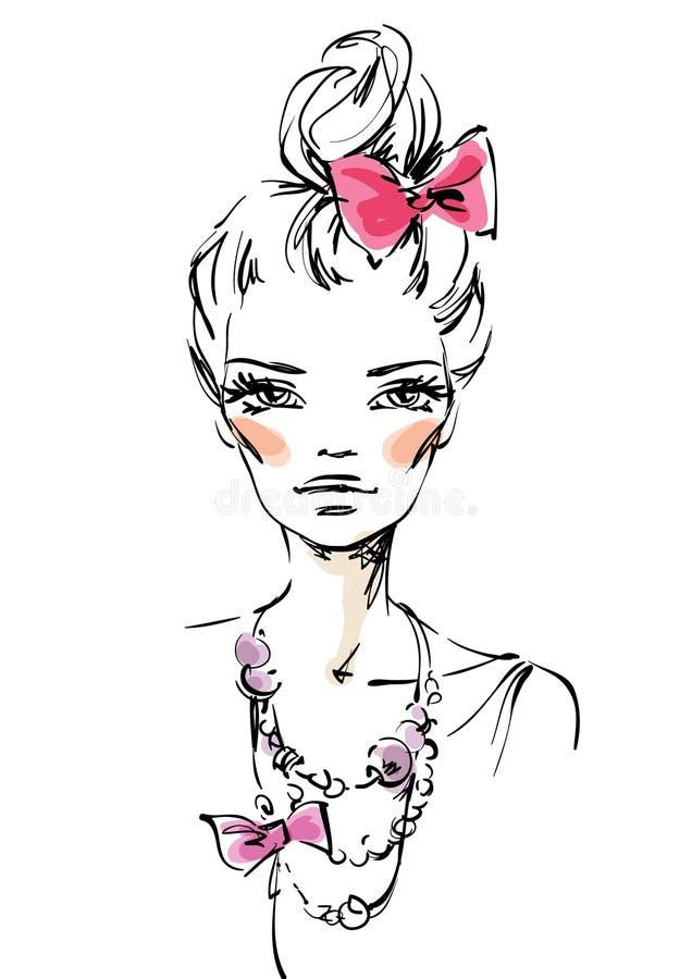 Het meisje met een roze boog royalty-vrije illustratie