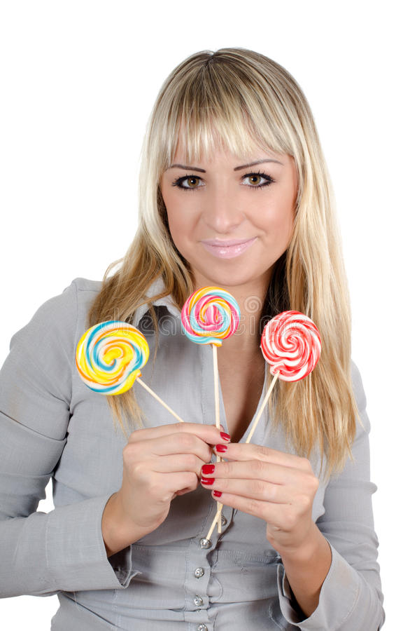 Het meisje met een suikersuikergoed royalty-vrije stock afbeeldingen