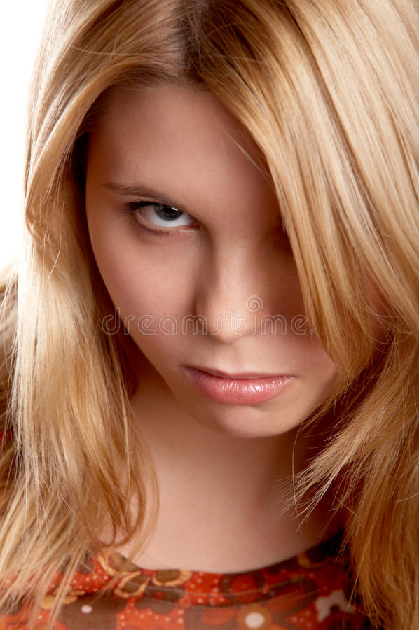 Het meisje met frown kijkt royalty-vrije stock foto