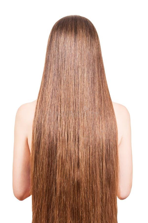 Het meisje met goed-verzorgd, vlot, lang, bruin die haar op wit wordt geïsoleerd stock foto's