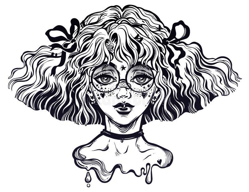 Het meisje met golvend kapsel en leuk maakt omhoog en glazen r vector illustratie