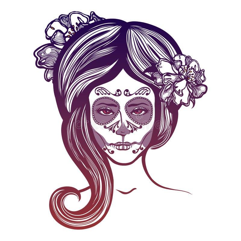 Het meisje met goudsbloemen bloeit in haar haar en samenstelling aan de Mexicaanse vakantiedag van de Doden royalty-vrije illustratie