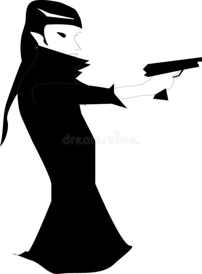 Het meisje met kanon royalty-vrije illustratie