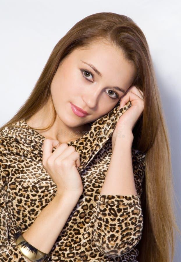 Het meisje met lang haar royalty-vrije stock foto's