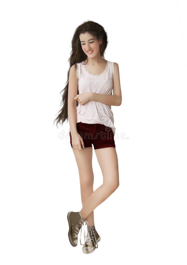 Het meisje met lang haar royalty-vrije stock fotografie