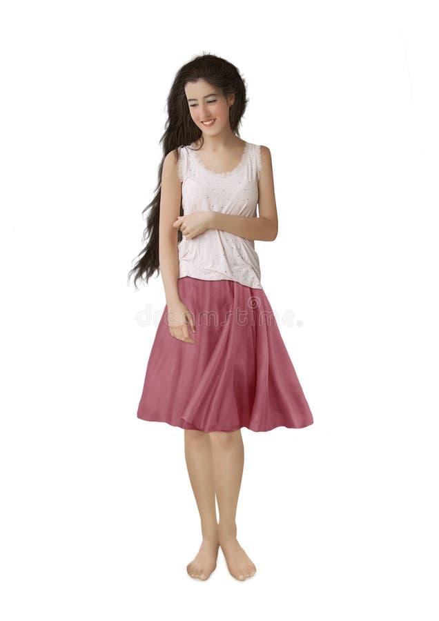Het meisje met lang haar stock fotografie