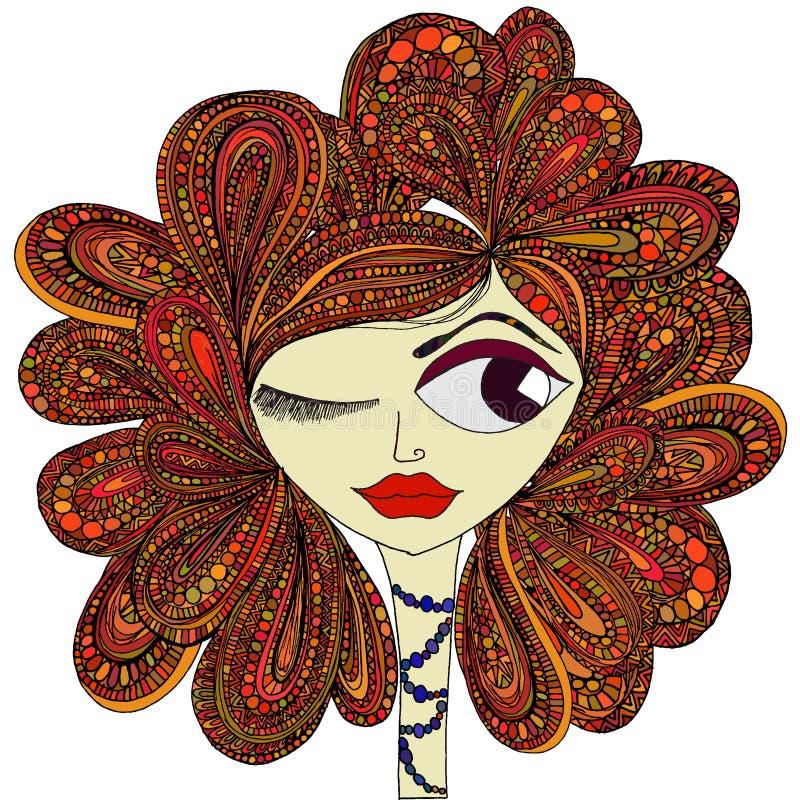 het meisje met rood haar stock afbeelding