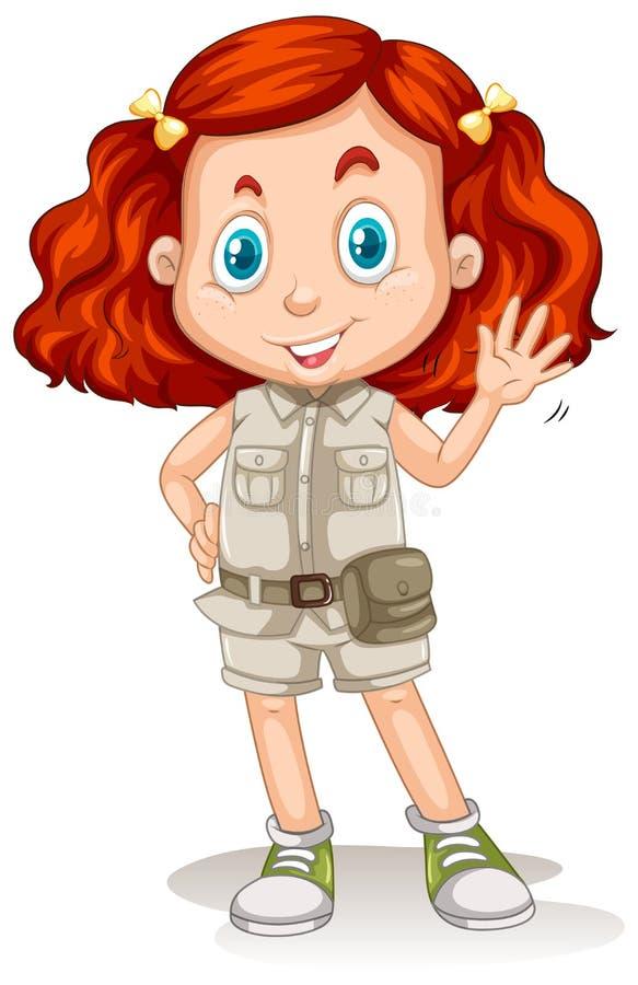 Het Meisje met Rood Haar in Safari Suit vector illustratie
