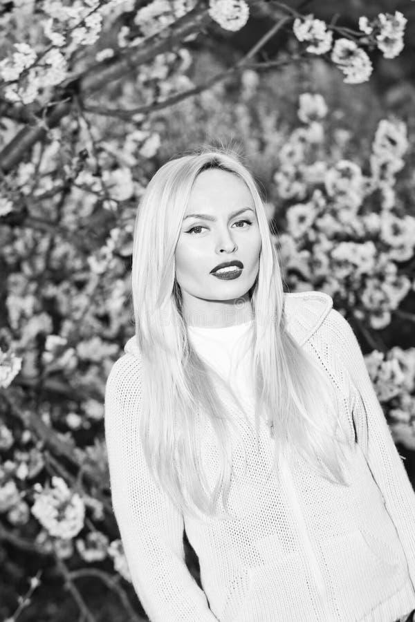 Het meisje met rood lippen en blondehaar openlucht in de bloesem van de vogelkers met witte bloemen op boom vertakt zich royalty-vrije stock foto