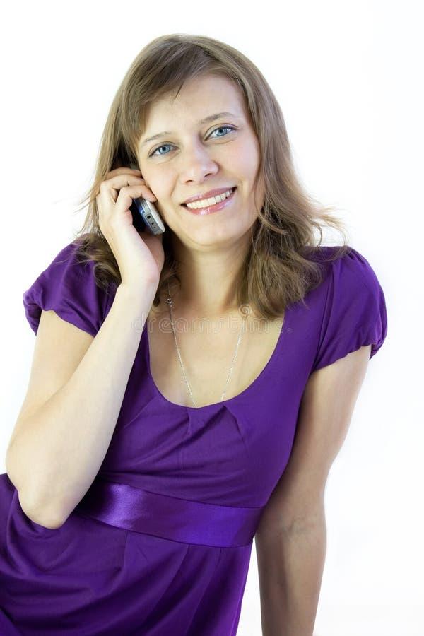Het meisje met telefoon royalty-vrije stock foto