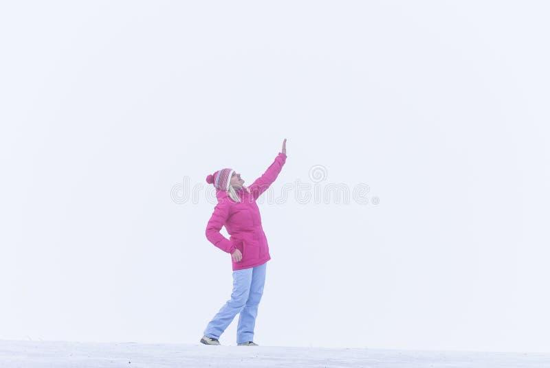 Het meisje in mist royalty-vrije stock afbeeldingen