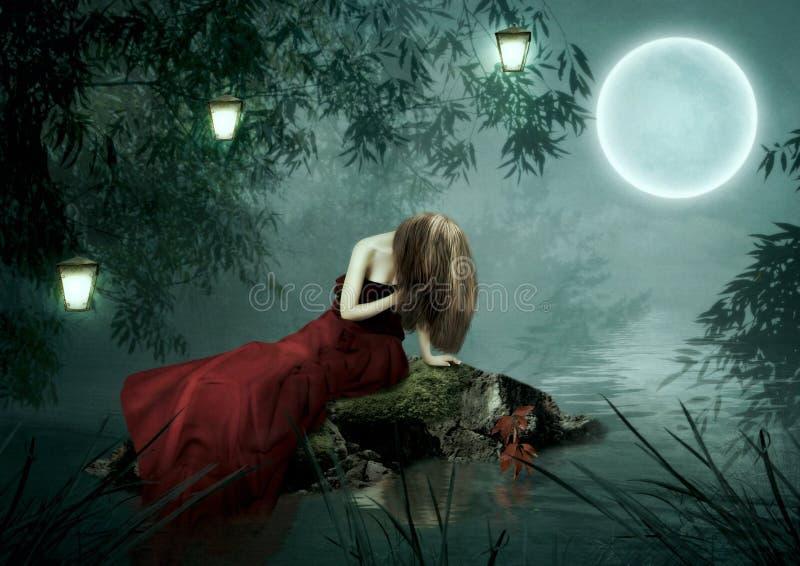 Het meisje onder de maan stock afbeelding