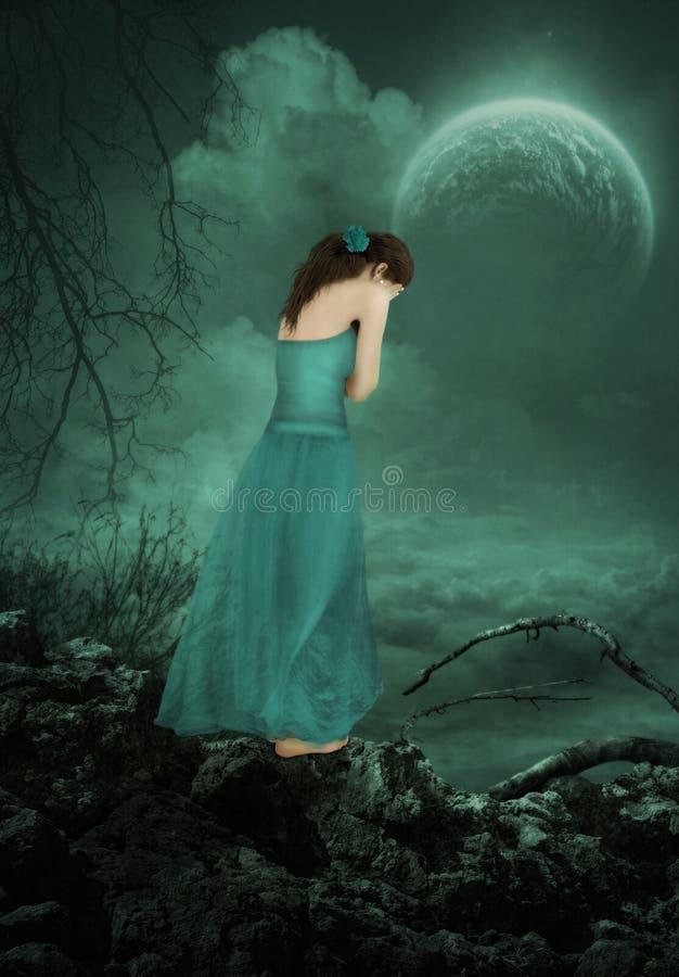 Het meisje onder het maanlicht royalty-vrije stock fotografie