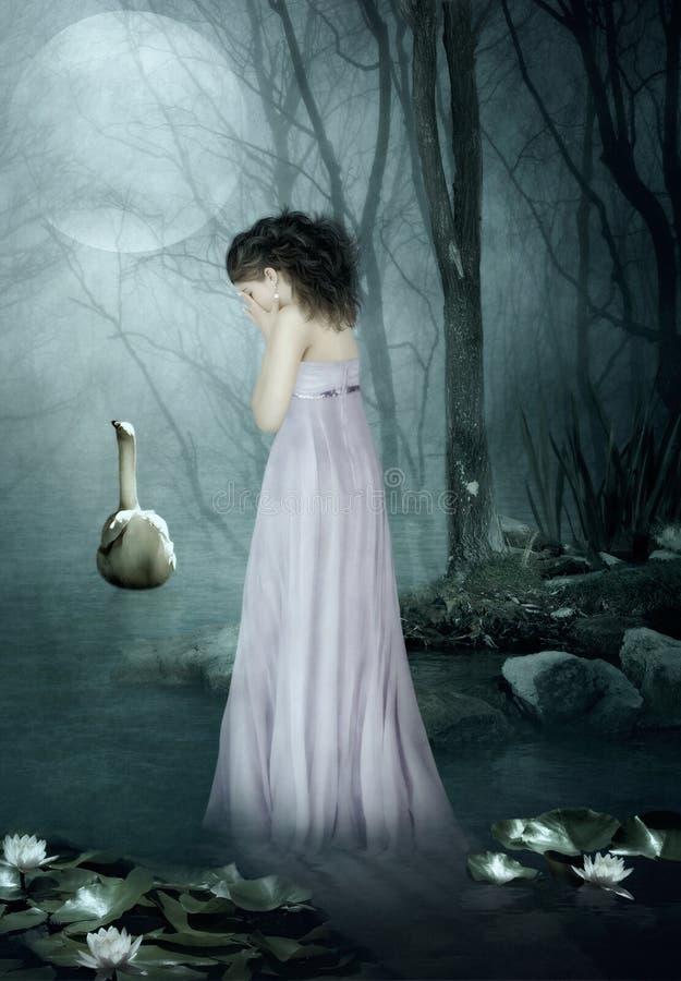 Het meisje onder het maanlicht stock afbeeldingen