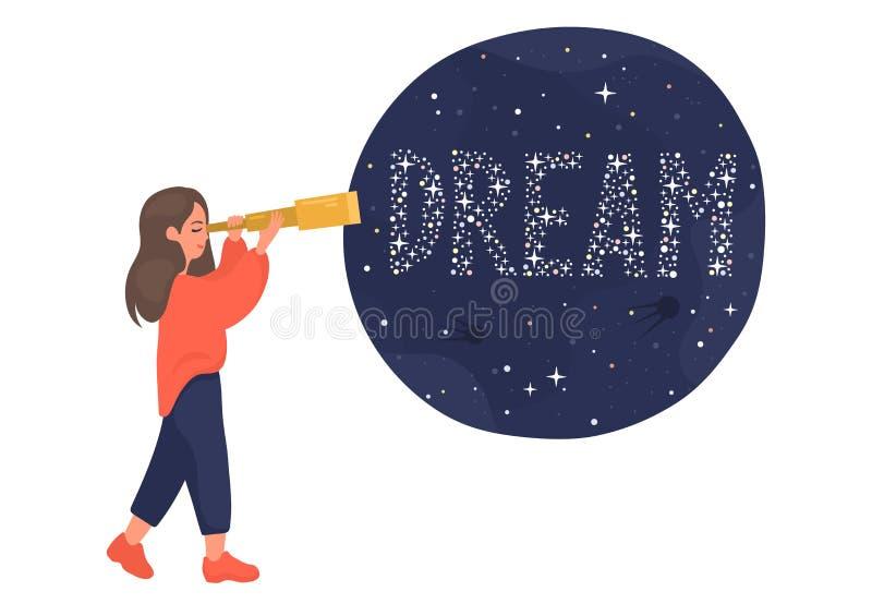 Het meisje onderzoekt de telescoop en ziet de wereld 'Droom ' stock illustratie