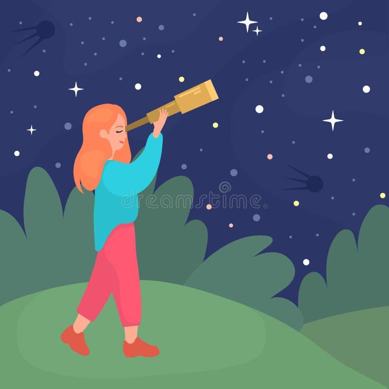 Het meisje onderzoekt de telescoop op de sterrige hemel stock illustratie
