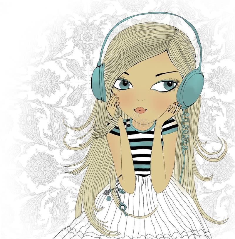 Het meisje in oortelefoons royalty-vrije stock fotografie