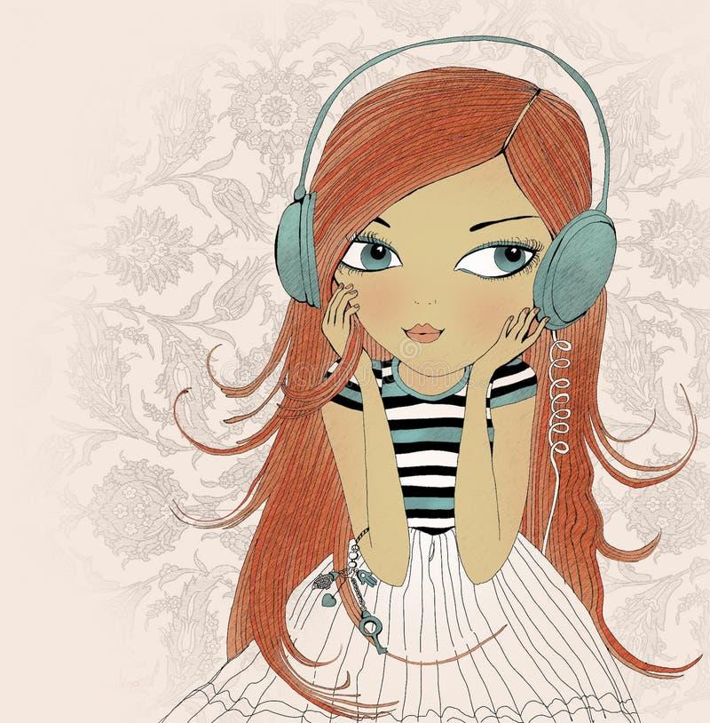 Het meisje in oortelefoons stock afbeeldingen