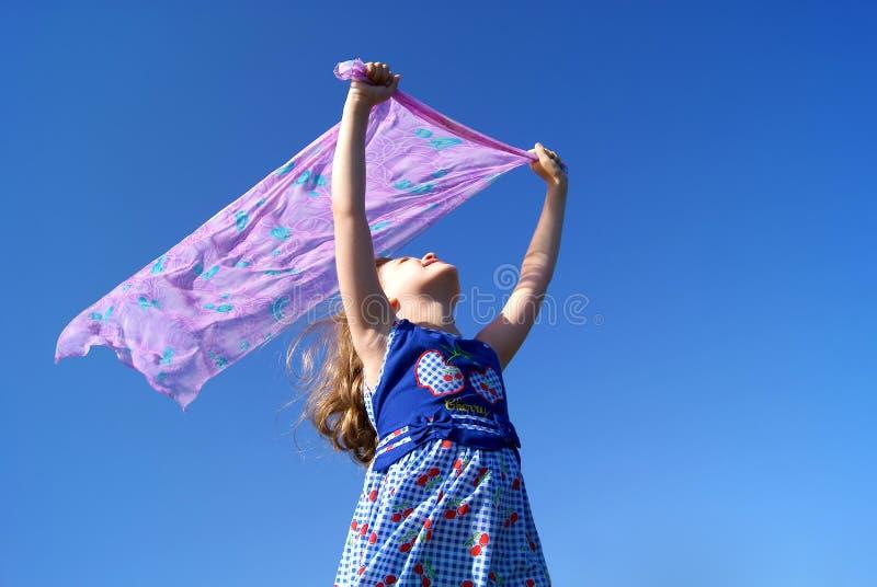 Het meisje op een wind royalty-vrije stock fotografie