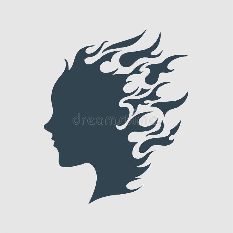 Het meisje op het embleeminspiratie van het brandmonogram stock illustratie