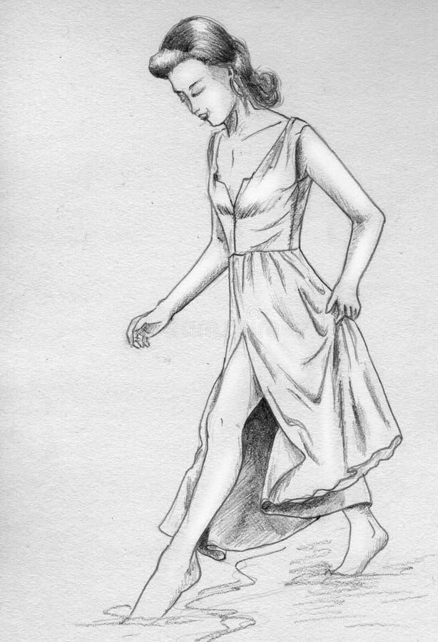 Het meisje raakt water met haar tenen vector illustratie