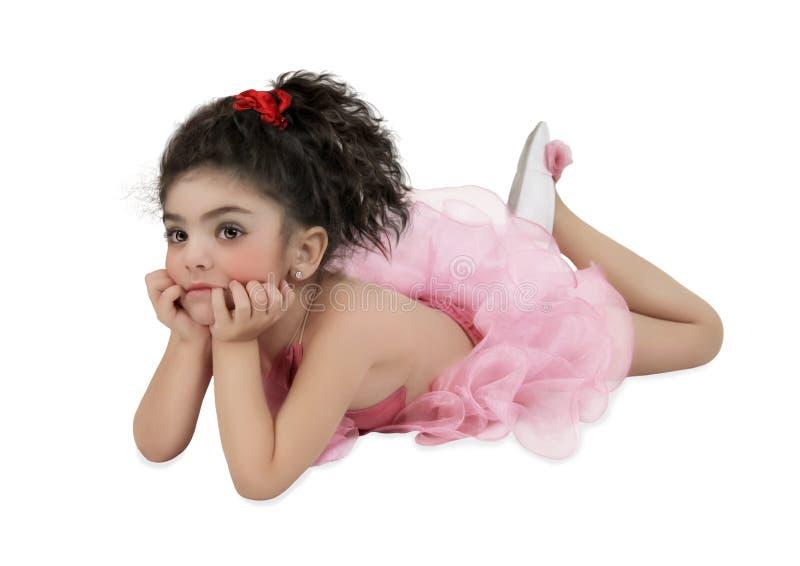 Het meisje in roze tutu stock afbeeldingen