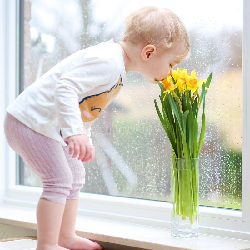 Het meisje ruikt narcissenbloemen stock afbeeldingen