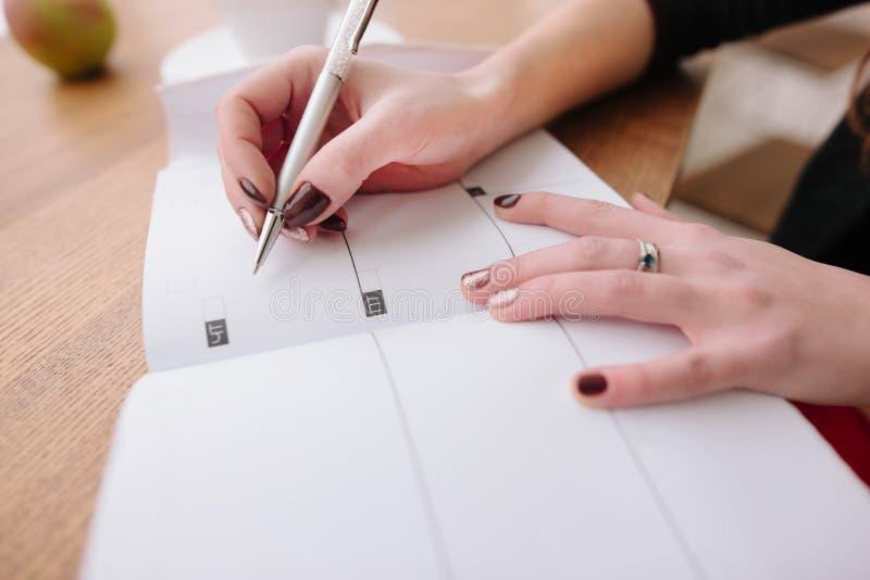 Het meisje schrijft in een agenda royalty-vrije stock afbeelding