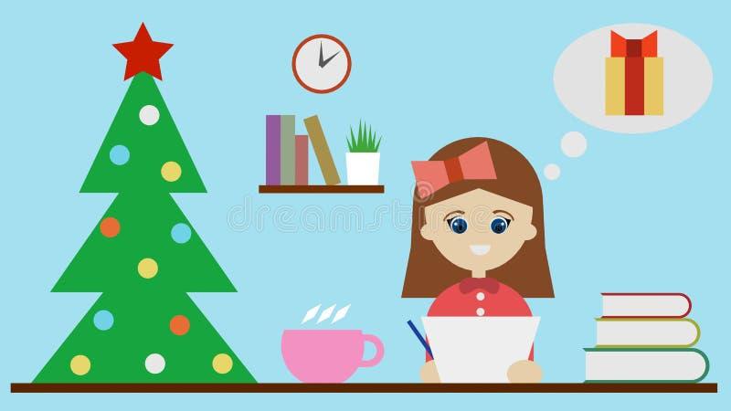 Het meisje schrijft een brief aan de Kerstman en denkt over een gift 3D illustratie royalty-vrije illustratie