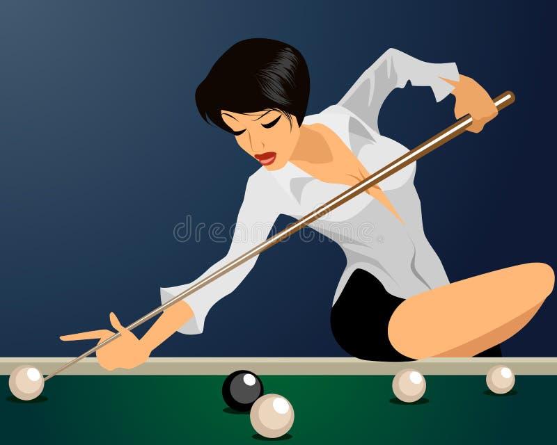 Het meisje speelt biljart royalty-vrije illustratie