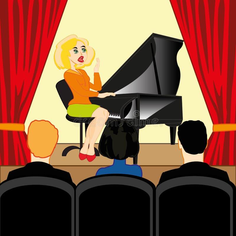 Het meisje speelt de piano in gemeenschappelijk-ruimte met toeschouwer stock illustratie