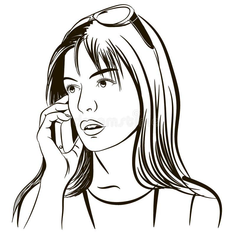 Het meisje spreekt op de telefoon Abstract ontwerp samengesteld uit lijnen op witte achtergrond Illustratie royalty-vrije illustratie