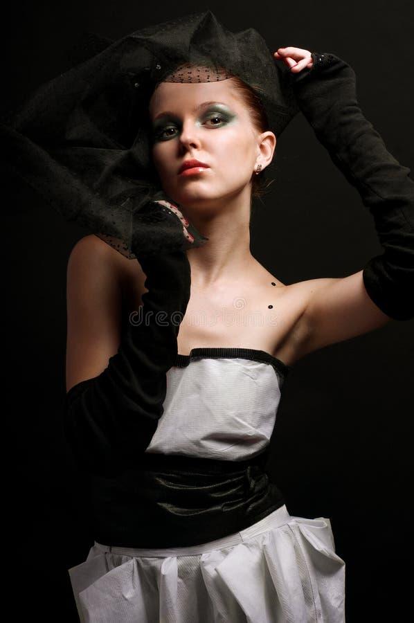 Het meisje in stijl van retro stock afbeelding
