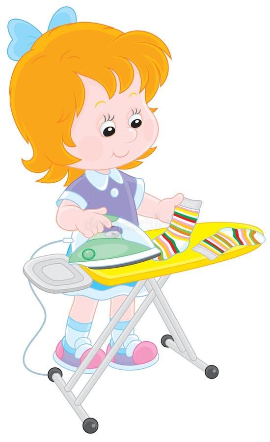 Het meisje strijkt sokken vector illustratie