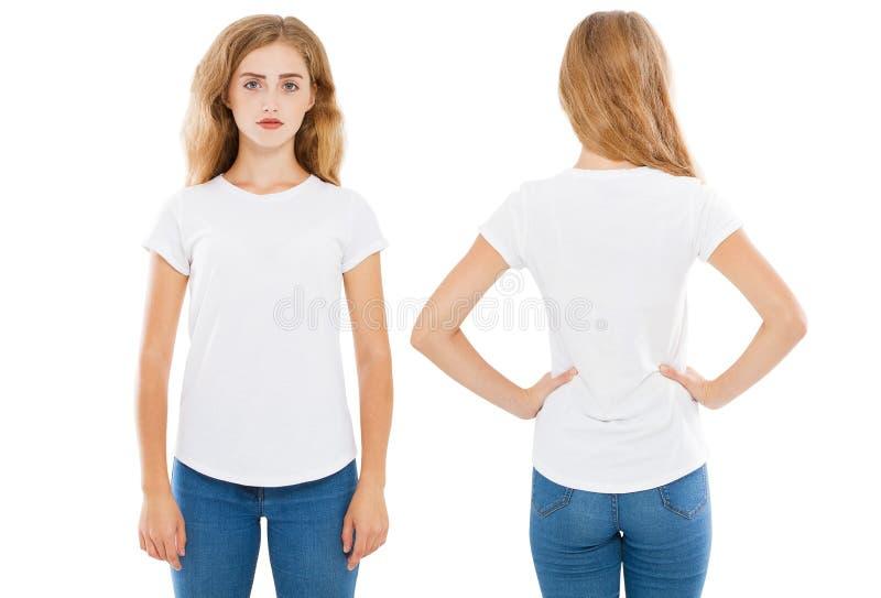 Het meisje in t-shirt plaatste op witte geïsoleerde achtergrond, lege de zomert-shirt, stock fotografie