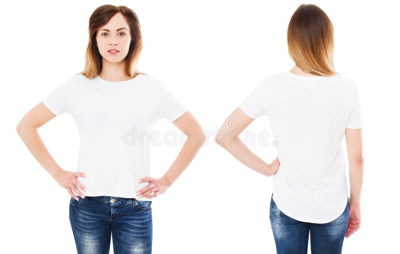 Het meisje in t-shirt plaatste op witte geïsoleerde achtergrond, lege de zomert-shirt, royalty-vrije stock afbeelding